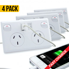 Double Powerpoint with Dual USB Outlets