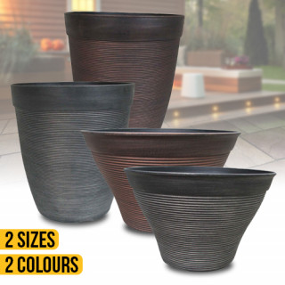 Round Ribbed Planters